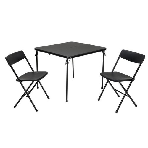 Cosco 3-Piece Black Folding Table and Chair Set