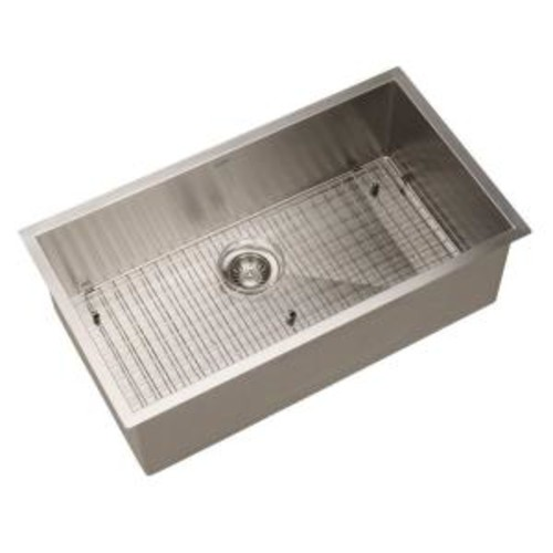 HOUZER Contempo Gourmet Undermount Stainless Steel 32 in. 0-Hole Single Bowl Kitchen Sink