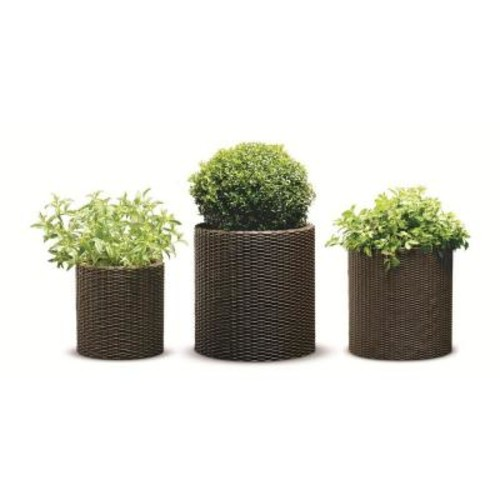 Keter Round Brown Rattan Resin Planters (Set of 3)