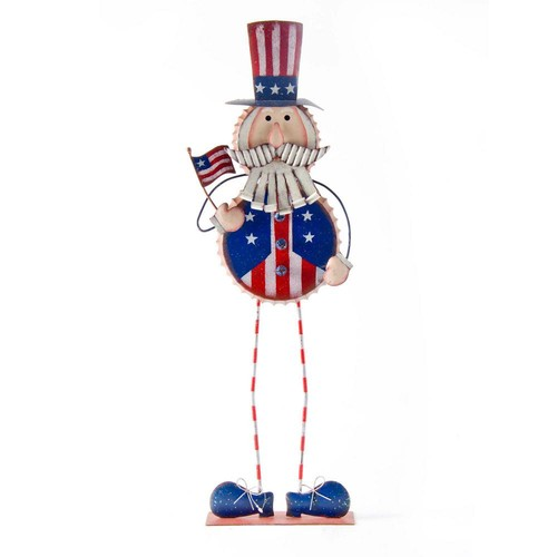 23.86 in. H Patriotic Iron Standing Uncle Sam Decor