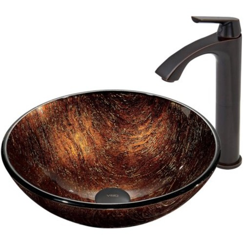 VIGO Kenyan Twilight Glass Vessel Sink and Linus Faucet Set in Antique Rubbed Bronze Finish