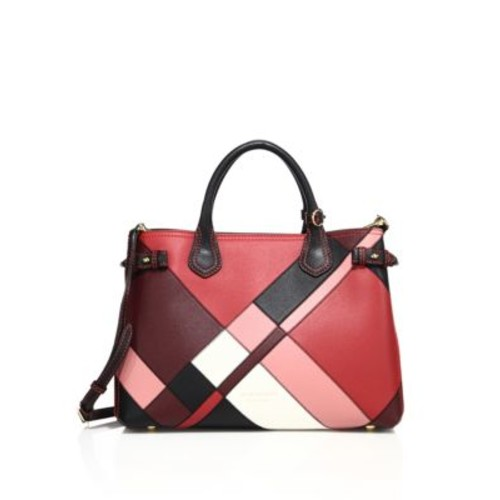 BURBERRY Banner Medium Patchwork Leather & House Check Satchel