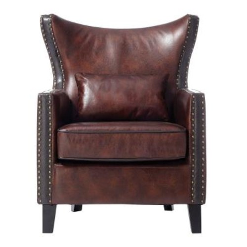 Home Decorators Collection Meloni Brown Bonded Leather Arm Chair
