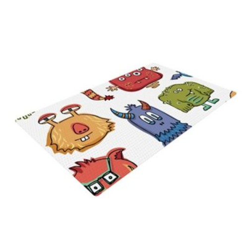 East Urban Home Brienne Jepkema Little Monsters White/Red Area Rug; 2' x 3'