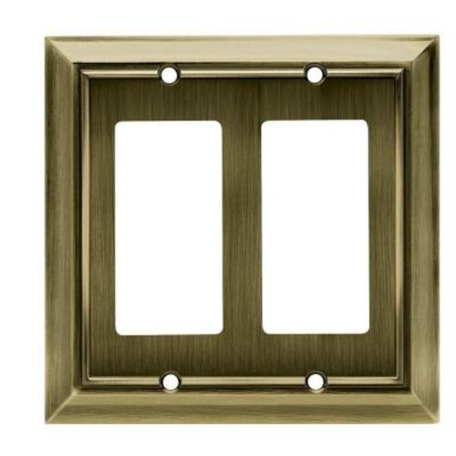 Hampton Bay Architectural Decorative Double Rocker Switch Plate, Antique Brass