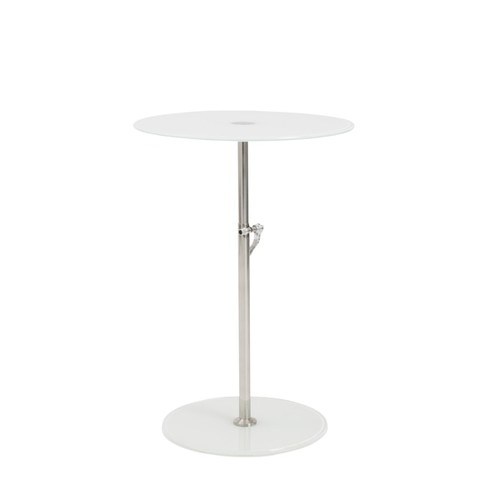 Euro Style Radinka White Glass/Stainless Steel Round Side Table