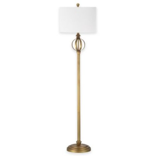 Safavieh Garden Sphere Floor Lamp in Gold with Cotton Shade