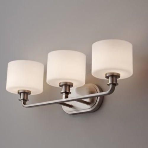 Feiss Kincaid 3-Light Wall-Mount Vanity Strip in Brushed Steel with Opal Etched Glass Shades