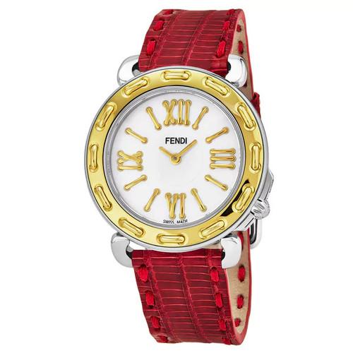 Fendi Women's F8001345H0.TSN7 'Selleria' Mother of Pearl Dial Red Leather Strap Swiss Quartz Watch - Women's