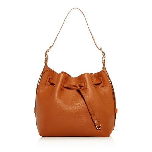 Carla Pebbled Leather Bucket Bag