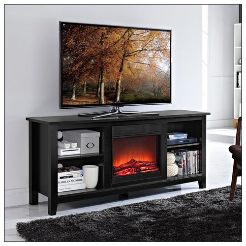 Walker Edison - TV Console with Electric Fireplace for Most Flat-Panel TVs Up to 60