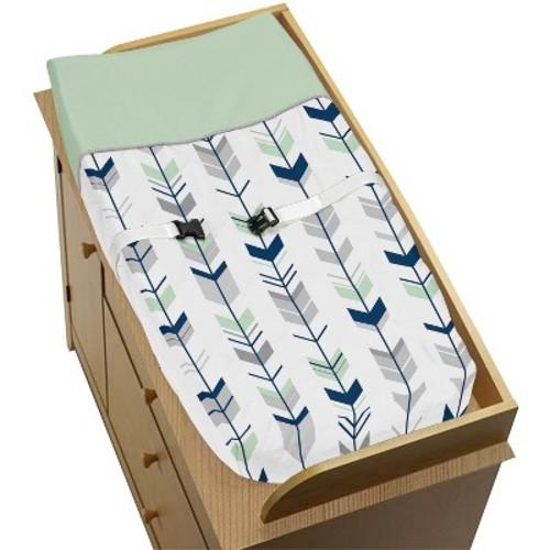 Sweet Jojo Designs Changing Pad Cover - Navy & Mint Mod Arrow
