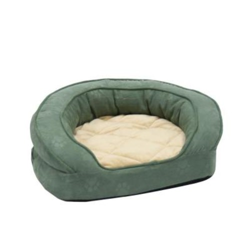 K&H Pet Products Deluxe Ortho Bolster Sleeper Extra Large Green Paw Print Dog Bed