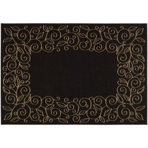 Safavieh Courtyard Black/Beige 2 ft. x 7 ft. Indoor/Outdoor Runner Rug