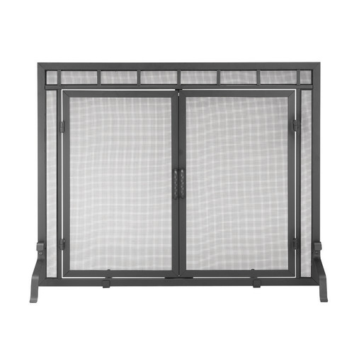 ACHLA Designs 44-in Black Iron 1-Panel Flat Twin Fireplace Screen