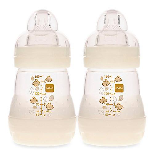 MAM 2-Pack 5 oz. Anti-Colic Bottle in White
