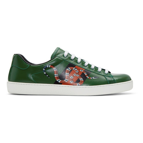 GUCCI Green Web Snake Ace Sneakers