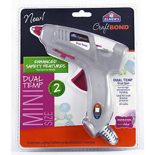 Elmer's CraftBond 20-Watt Mini Dual-Temp Glue Gun, Gray/Pink