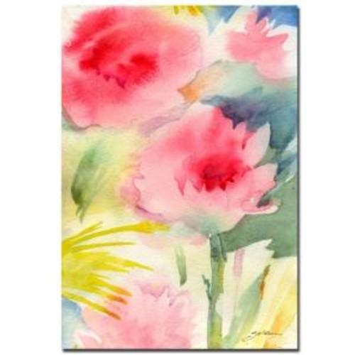 Trademark Fine Art 22 in. x 32 in. Pink Flowers Canvas Art