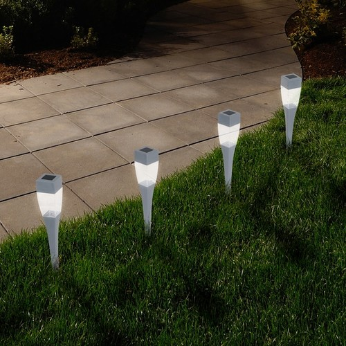 Pure Garden Modern Silver Solar LED Pathway Lights (Set of 24)