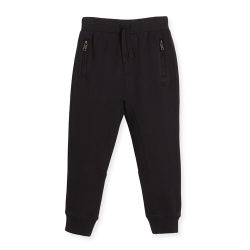 BURBERRY Phill Cotton Track Pants, Black, Size 4-14