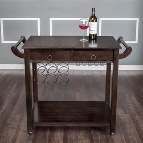 Furniture of America Dark Walnut Vintage Kitchen Cart with Wine Rack on Wheels