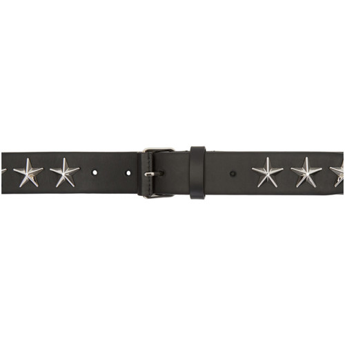 GIVENCHY Black Roll Buckle Stars Belt