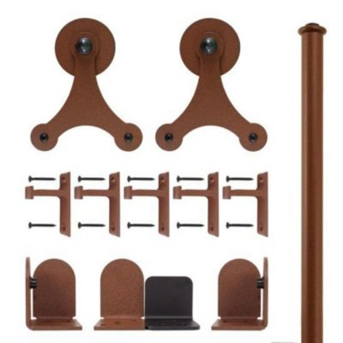 Quiet Glide Tri-Star Barn Door Hardware Kit; New Age Rust