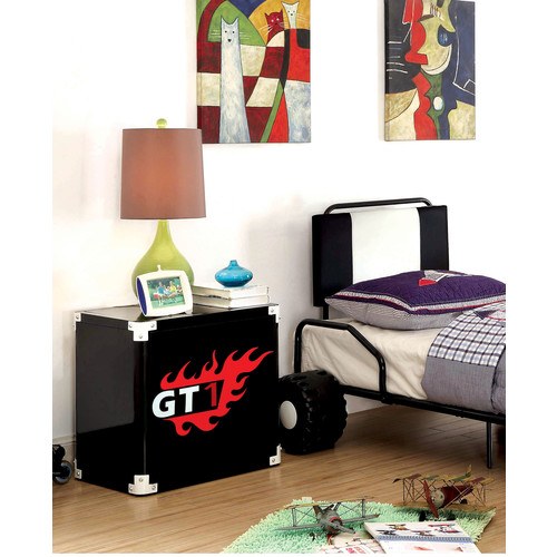 Furniture of America Antonio Flame-Decaled Black Metal Nightstand