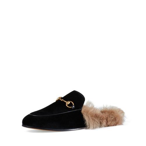 GUCCI Princetown Velvet Slide Loafer