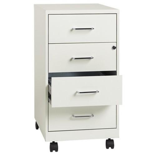 Hirsh Industries 4 Drawer Vertical File Cabinet, Mobile, White, Letter/Legal, 18''D (19537)