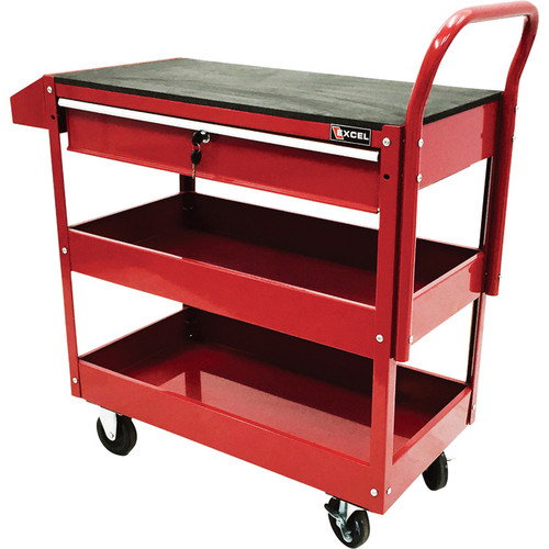 Excel Rolling Tool Cart with Locking Drawer  300-Lb. Capacity, Model# TC301C-RED