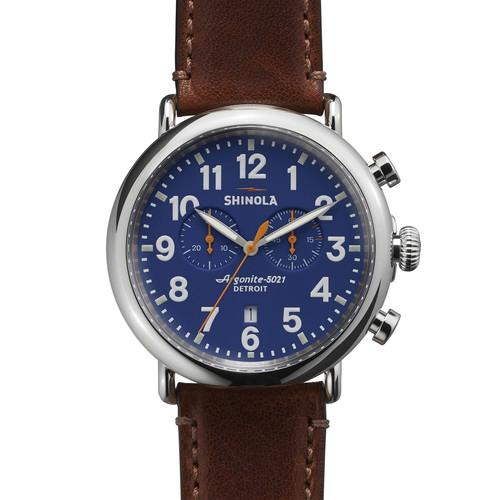 Men's 47mm Runwell Chronograph Men's Watch, Blue/Cognac
