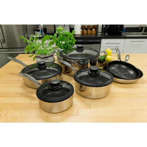 Black Cube 10-Piece Stainless Cookware Set with Lids