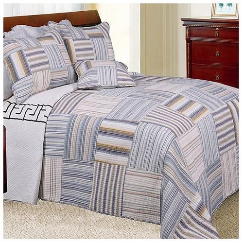 Kevin Striped Patchwork Twin-size Quilt Set