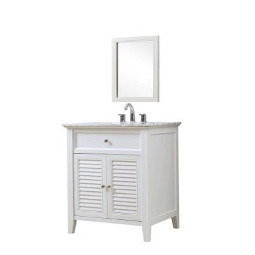 Shutter 32 inch White Vanity with Carrara White Marble Top and Mirror [32S12-WWC-M]