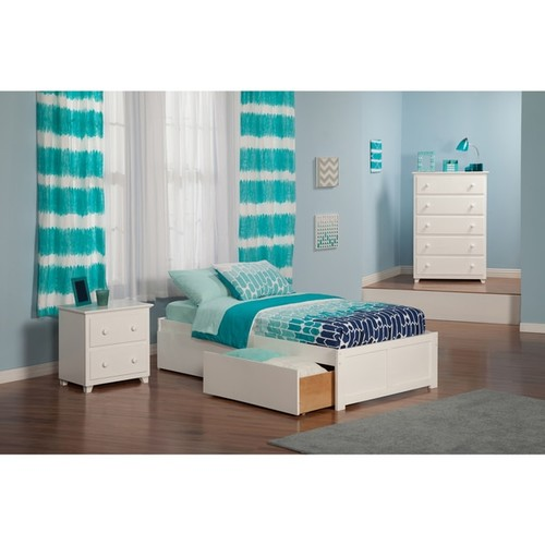 Atlantic 'Concord' White Wood Twin XL Bed with Flat-panel Foot Board and 2 Urban Drawers