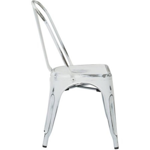 OSP Designs Bristow Armless Chair, Antique White Finish, 4-Pack