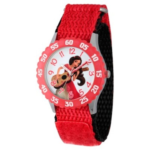 Girls' Disney Elena of Avalor Stainless Steel Time Teacher Watch With Red Bezel - Red