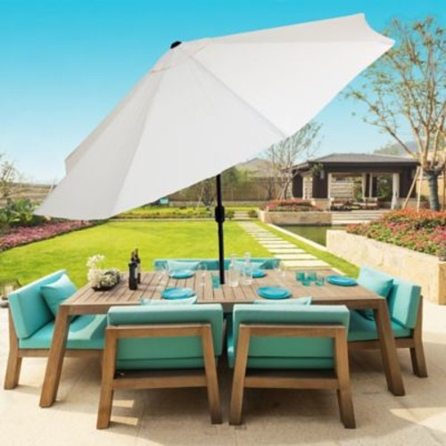 Pure Garden 10 Foot Aluminum Patio Umbrella with Auto Tilt - Tan (M150004)
