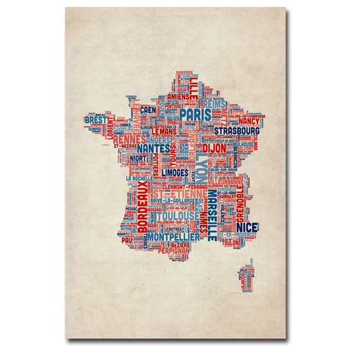 Trademark Global Michael Tompsett 'France - Cities Text Map' Canvas Art [Overall Dimensions : 16x24]