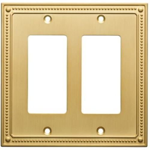 Franklin Brass Classic Beaded Double Decorator Wall Plate; Brushed Brass