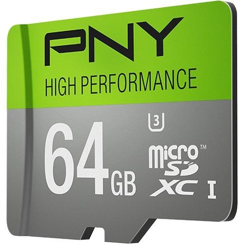 PNY P-SDUX64U360G-GE High-Performance 64GB microSDHC Class 10 UHS-I, U3 up to 60MB/sec Flash Memory Card