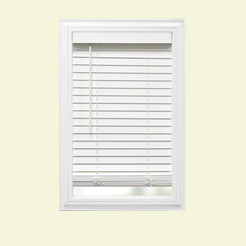 Home Decorators Collection White Cordless 2 in. Faux Wood Blind - 57.5 in. W x 48 in. L (Actual Size 57 in. W x 48 in. L)