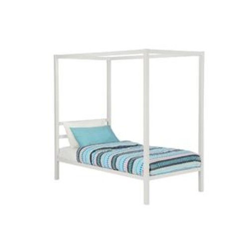 Dorel DHP Modern White Metal Twin Canopy Bed
