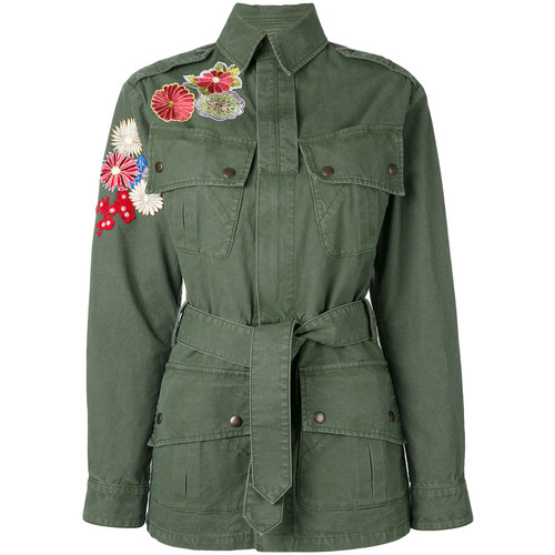 SAINT LAURENT Flower Embroidered Military Parka Jacket