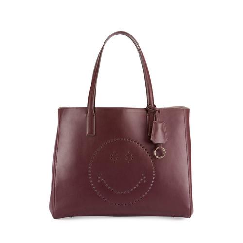 ANYA HINDMARCH Ebury Shopper Smiley Tote Bag, Wine