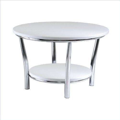Winsome Wood Maya Round Coffee Table, Black Top, Metal Legs [Black / Metal]