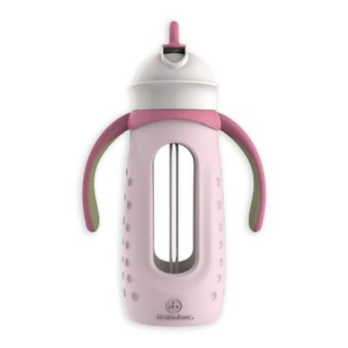 Drinkadeux Sip Jr. 6 fl. oz. Glass Bottle with Straw and Handles in Pink