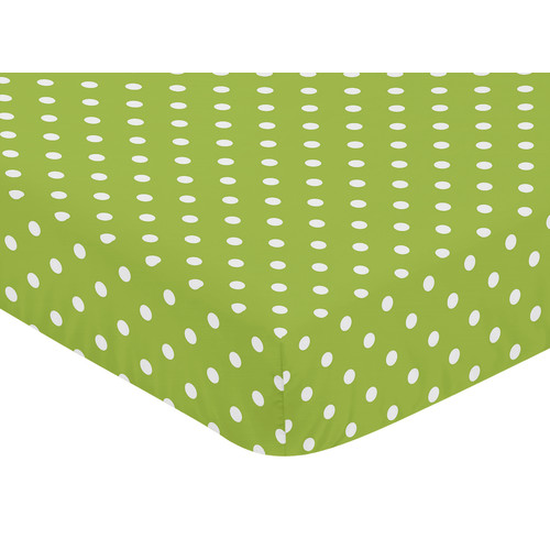 Sweet Jojo Designs Lime and Black Spirodot Collection Fitted Crib Sheet - Polka Dot Print